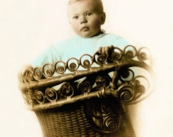 BABY in BALLOON BASKET - Antique Postcard - Instant Download - Victorian tinted