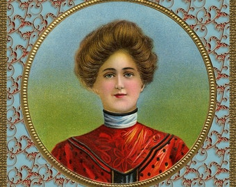 CIGAR GIRL in Frame  - 4.5 inches - INSTANT Download - Victorian Image