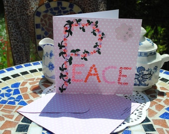 3D  word Peace sign  thank  you pink polka dot card