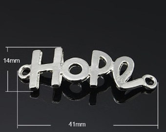 3 x GOLD or SILVER Hope Link Charms 14mm x 41mm - TS70