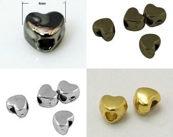 50 x 3mm Love Heart Spacer Beads LF NF - Steampunk SP28/50/42/3 - Gold Silver Bronze Gun Metal - Small heart Beads