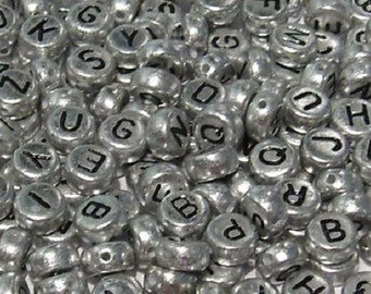 100 x 7mm Silver Mixed Alphabet Round Letter Beads - Black Letters - Double Sided - Black Alpha - (APPROX 4 of each Letter) - SA01