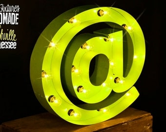 "Lighted Metal MARQUEE SIGN Marquee Light Marquee Letter Light Fixture:  ""@"" Sign"