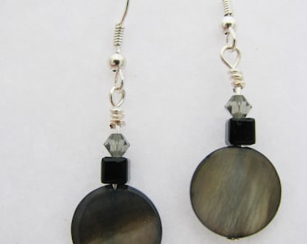 Grey Mother of Pearl Earrings with Swarovski Crystals