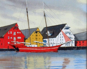 "Tromso, Norway Harbor - Watercolor Limited. Ed. Print 14"" x 11"" double matted art, painting"