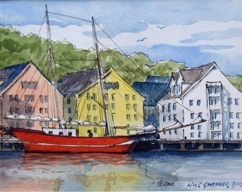 "Watercolor  Limited Edition Print - Tromso Harbor, Norway -  double matted to 8"" x 10"", art"