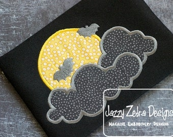 Moon with Bats and Clouds Appliqué embroidery Design - Halloween Appliqué Design - Moon Applique Design