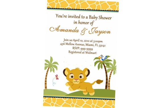 lion king baby shower invitation hr service uprint x or x  ebay, invitation samples