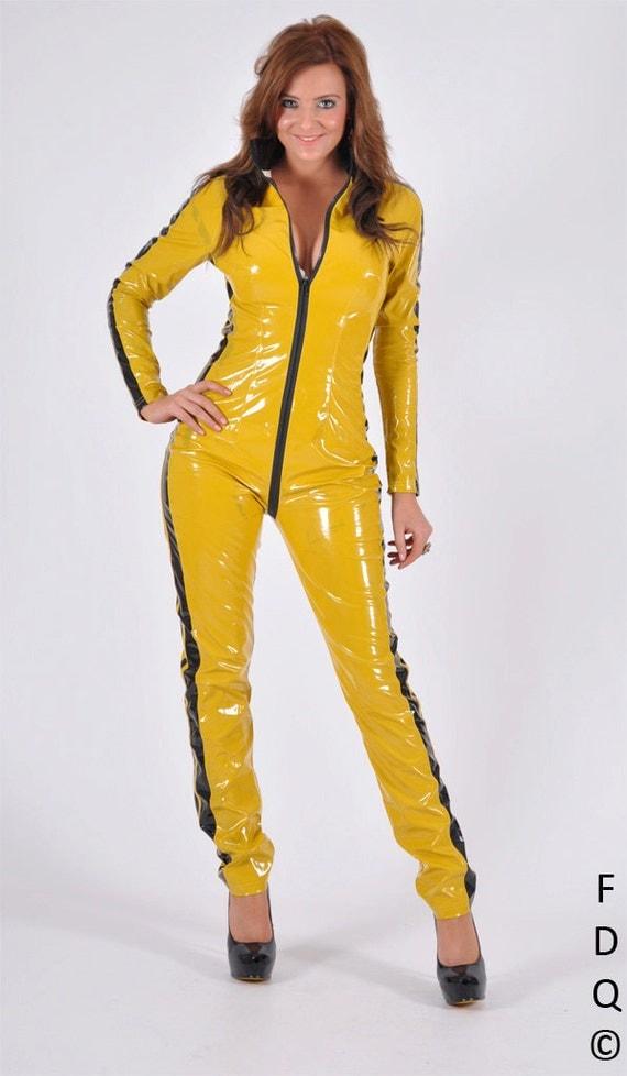 articles similaires jaune kill bill costume d guisements pvc catsuit la mari e cosplay costume. Black Bedroom Furniture Sets. Home Design Ideas