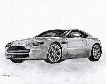 Original Painting, Watercolor, Car, Dream Car,  7,6 x11,6 inch. NOT a print. Tatiana-Art
