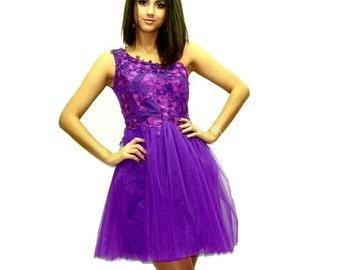 Elegant Handmade Dress Party Mauve Lace Dress Fiavina