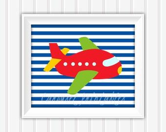 Airplane Wall Art, Printable Wall Art, Instant Download, Childrens Wall Art, Kids Wall Art, Nursery Wall Art, DIY Wall Art
