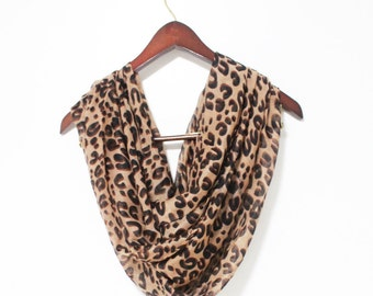 Brown Leopard Infinity Scarf Animal Pattern Scarf Brown Scarf with Leopard Scarf