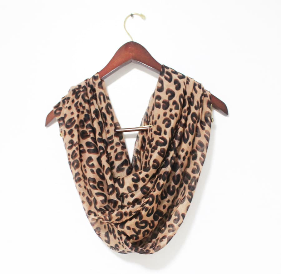 brown leopard infinity scarf animal pattern scarf brown scarf