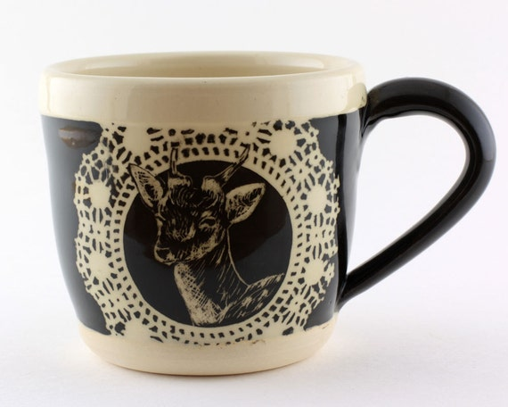 Black and White Animal Mug : Antlers No. 3