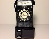rare Phone Coin Piggy BANK Ceramic Rotary Dial Pay Phone Glass Wall Hanging Telephone **ON SALE**