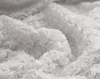 Lace Fabric 3D White Chiffon Small Rose Soft Lace Wedding Fabric 51.18'' width 1 yard