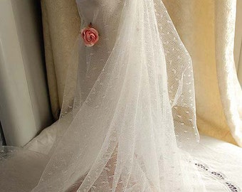 1 yard Ivory Little Dots Veil Lace Tulle Gauze Lace Fabric Wedding CostumeHeadwear Supplies 61 Inches Wide