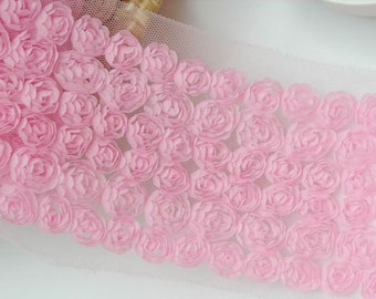 "Lace Trim Fabric Pink 6 Rows Rose Wedding Fabric DIY Handmade 4.33"" width 1 yard"