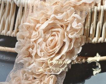 """Lace Trim Lace Fabric Beige Chiffon Flower Wedding Fabric DIY Handmade 2.16"""" width 2 yard"""