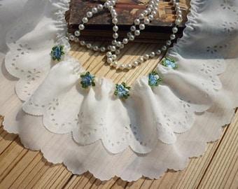 Lace Trim Lace Fabric White 2 Layers Chiffon Trim Wedding Trim DIY Handmade 3.54'' width 2 yard