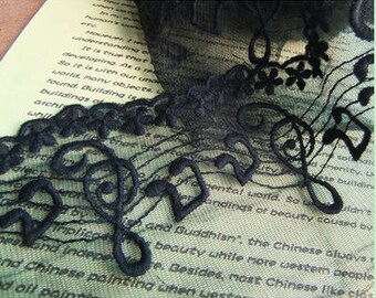 """Lace Trim Lace Fabric Musical Notes Lace Black Lace DIY Handmade 3.94"""" width 1 yard"""