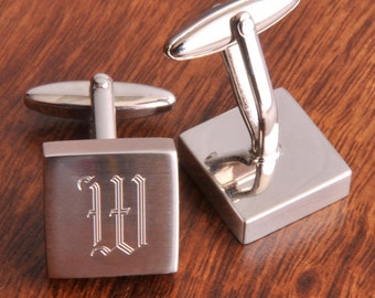 Engraved Groomsmen Gifts, Personalized Harrison Silver  Monogram Custom Cuff Links