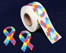 Autism Awareness Ribbon Stickers  (250 Stickers)  (ST-02-2)