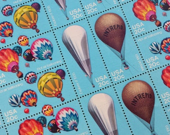 Postage stamps, 40 Hot Air Balloon Stamps, Unused US Vintage Postage, Blue Stamps, Face Value 20 cents each