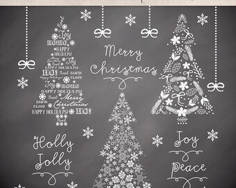 Clipart christmas tree chalkboard, christmas clipart, winter clipart, chalkboard christmas clipart, snowflakes clipart