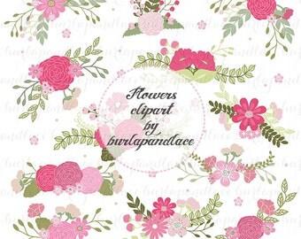 Wedding Floral Clip Art, Hand Illustrated Digital Flowers , Flower and Laurel Clip Art, PNG Flower Clip Art,  Wreath flower