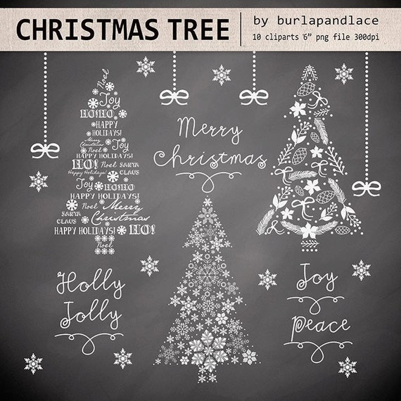 Clipart christmas tree chalkboard, christmas clipart, winter clipart ...
