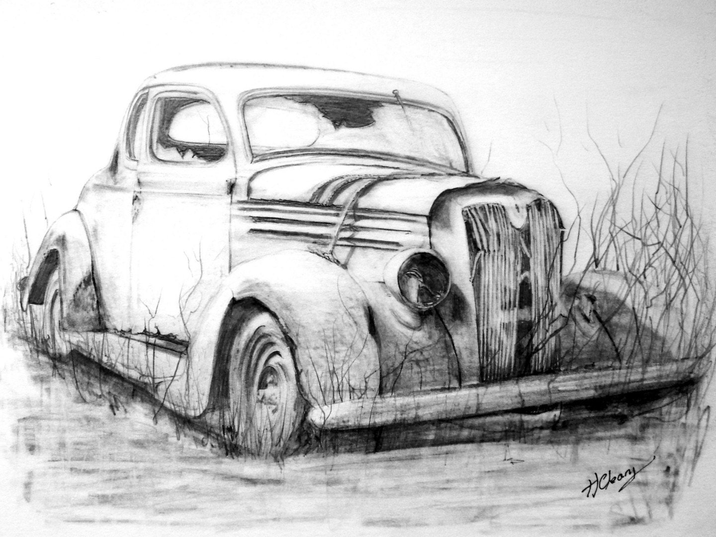 Old Abandoned Car Graphite Pencil Drawing. Print From An