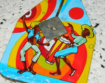 Vintage Toy - 1950's New Year's Eve Tin Noise Maker with a Calypso Theme.