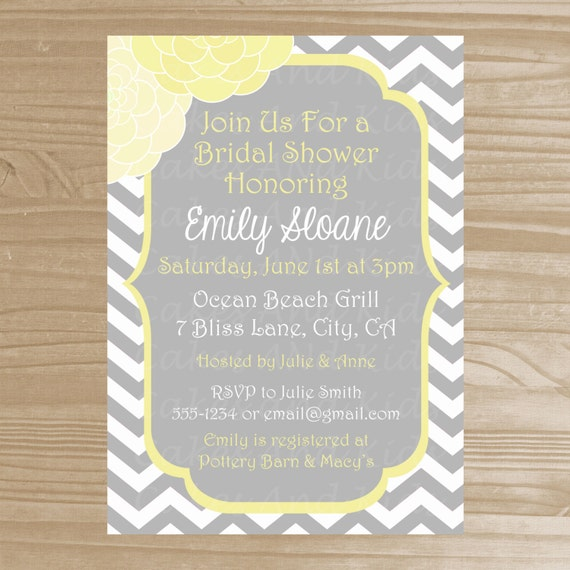 Bridal shower invitation grey and yellow by for Yellow bridal shower invitations