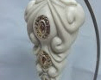 Off White Porcelain Ornament with Gold Trim