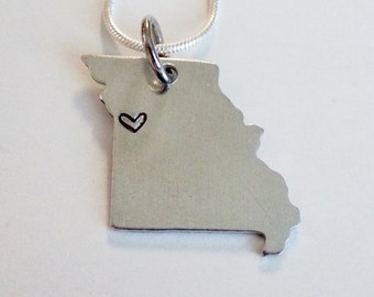Custom Missouri State Necklace with Heart over Home Town