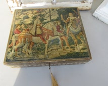Antique Vintage Florentine Medieval Knight Horse Italy Italian Wooden Box w Key