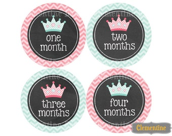Monthly Baby Stickers, chalk princess baby month stickers, monthly milestone stickers - chalk princess