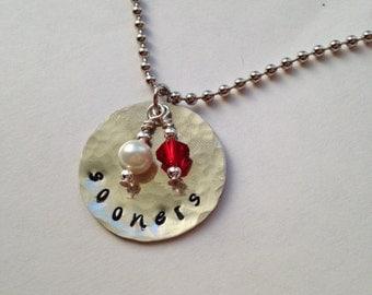 OU Sooners handstamped necklace