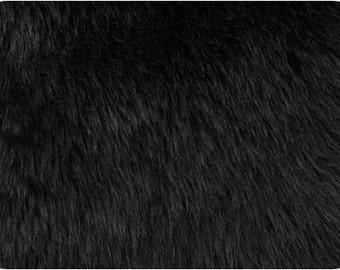 Black Luxury Shag Faux Fur Fabric