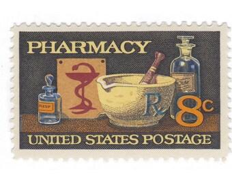 10 Unused Vintage Postage Stamps - 1972 8c Pharmacy - Item No. 1473