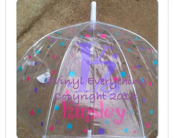 Children's Personalized Clear Dome Umbrella, Christmas Gift, Easter Basket Gift, Birthday Gift , Clear Umbrella