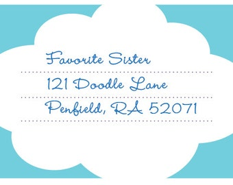 Super cool blank address label: Poofy Cloud  •  Cool palette (8/sheet)