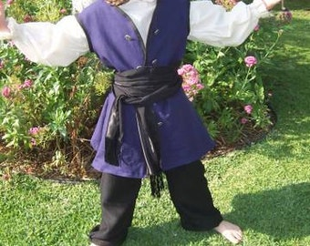 kids Renaissance costume buccaneer Pirate swashbuckler childs boys or girls choice of color