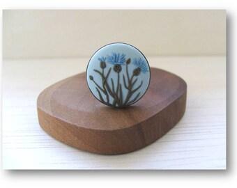 Flower Jewelry- Knapweed Flower Jewelry- Flower Polymer Clay Jewelry- Jewelry made with Flowers- Spring Flower Ring