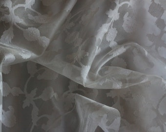 "White on White Cutwork Jacquard 100% Silk Organza Fabric 44"" Wide, By the Yard (JD-421)"