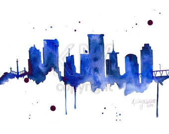 Richmond Virginia Skyline, Print from Original Watercolor Painting, Home Decor, Kitchen art, Modern wall artwork, Navy Blue Skyline,