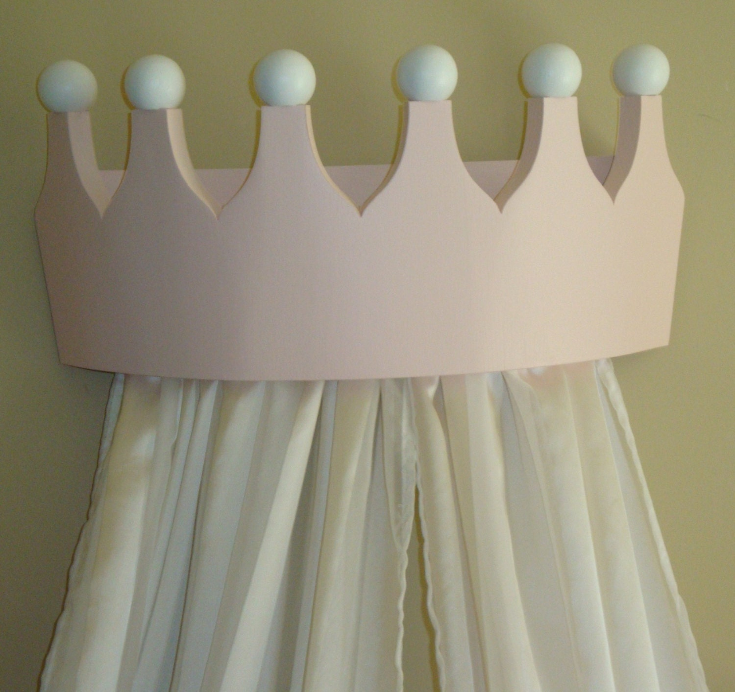 Princess Bed Canopy Girl Crown Pelmet Upholstered Awning: Pink Princess Bed Crown Valance / Canopy / By