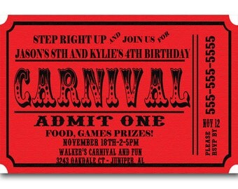 Carnival Ticket Birthday Party Invitations Announcement Digital File Or Printed FREE SHIPPING